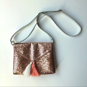 Pink glittery envelope bag